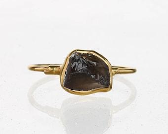 Raw Smoky Quartz Ring, Yellow Gold Smoky Quartz Wedding Gift, Smoky Quartz Jewelry, January Birthstone Ring, Cognac Quartz Jewelry Ringcrush