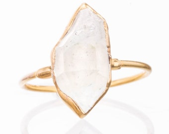 7e0436af47b Large Gold Raw Herkimer Diamond Ring for Women