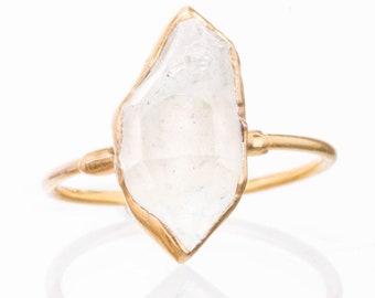 bf1600ec74 Large Gold Raw Herkimer Diamond Ring for Women