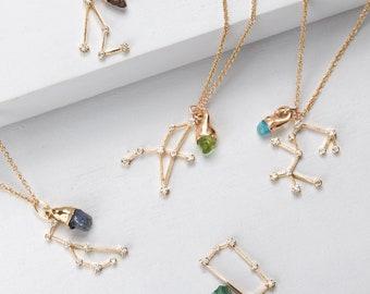 Gold Dainty Zodiac Necklace, Constellation Jewelry, Raw Gemstone Crystal Necklace, Celestial Necklace, Personalized Birthstone Jewelry, Gold