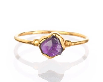Rough Raw Amethyst Crystal Claw Earrings Healing Stone Ring Gold Plated AZG133