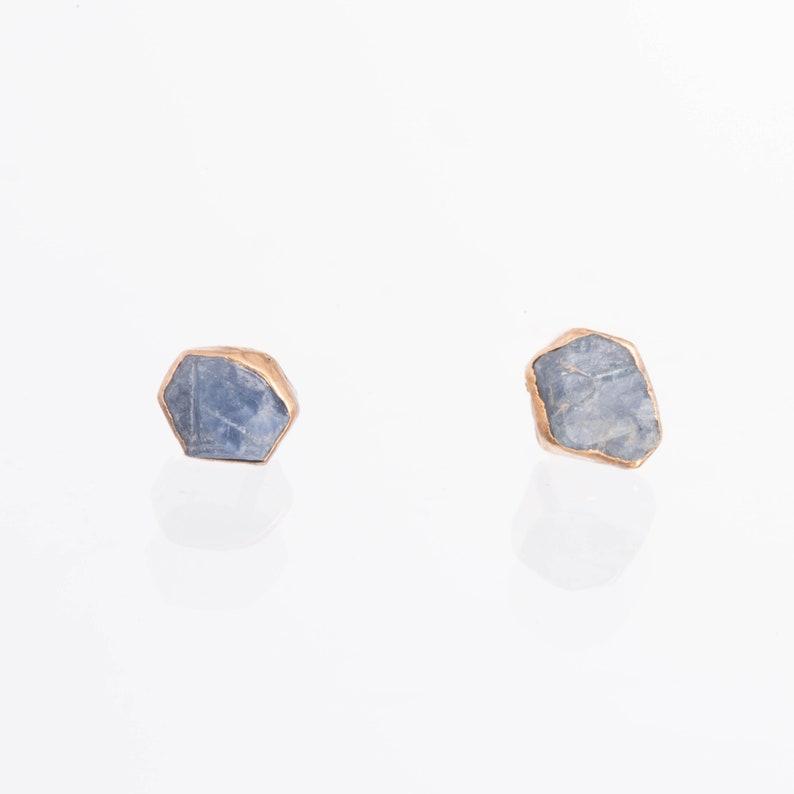 Dainty Raw Sapphire Earrings Gold Delicate Earrings image 0