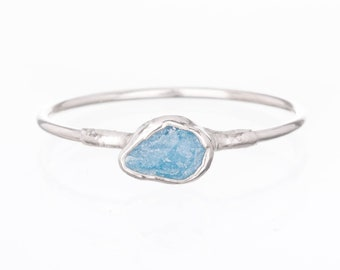 Dainty Raw Aquamarine Ring for Women, Sterling Silver Ring, Dainty Ring, Delicate Ring, March Birthstone, Raw Crystal Ring, Raw Stone Ring