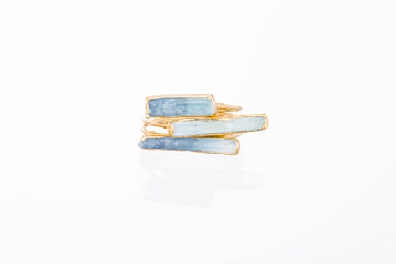 Three Stacking Rings, Raw Aquamarine Rings For Women, Statement Rings, Gold Rings, March Birthstone Ring, Raw Crystal Rings, Raw Stone Rings by Etsy