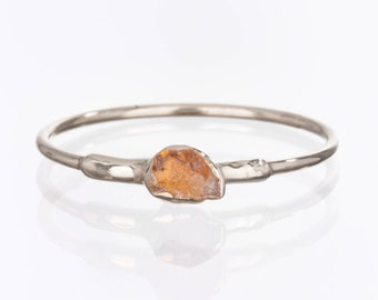 Dainty Raw Citrine Ring, Sterling Silver Ring, Stacking Rings, Gemstone Ring, Delicate Ring, November Birthstone Ring, Raw Stone Ring