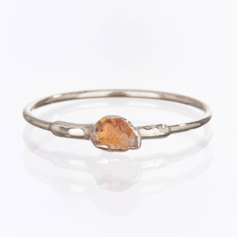 Dainty Raw Citrine Ring Sterling Silver Ring Stacking Rings image 1
