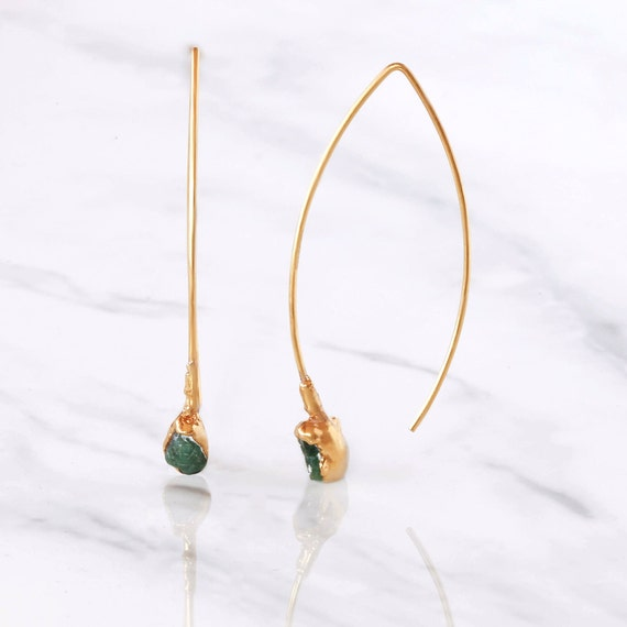 Edgy Gold Raw Emerald Earrings Unique Gift For Her May