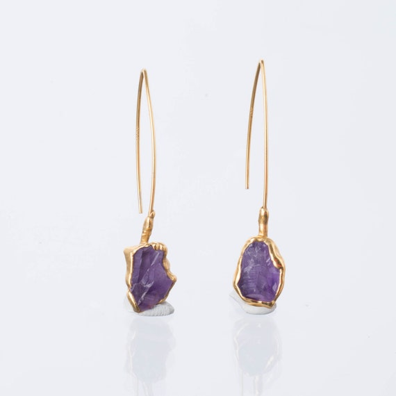 Petite Dainty Birthstone Jewelry Purple Crystal Dangle Earrings February Birthday Gift for Her Girls Women Gold Amethyst Earrings