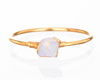 Mini Raw Opal Ring for Women, Gold Ring, Dainty Ring, Gemstone Ring, Opal Engagement Ring, Raw Crystal Ring, October Birthstone Ring