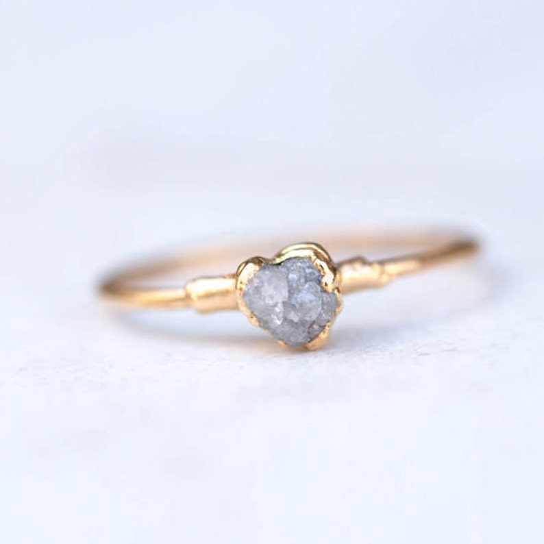 992b6c7df82ae Raw Diamond Ring for Women, Gold Ring, Delicate Raw Stone Ring, Engagement  Ring, Stacking Ring, Dainty Minimalist Ring, April Birthstone