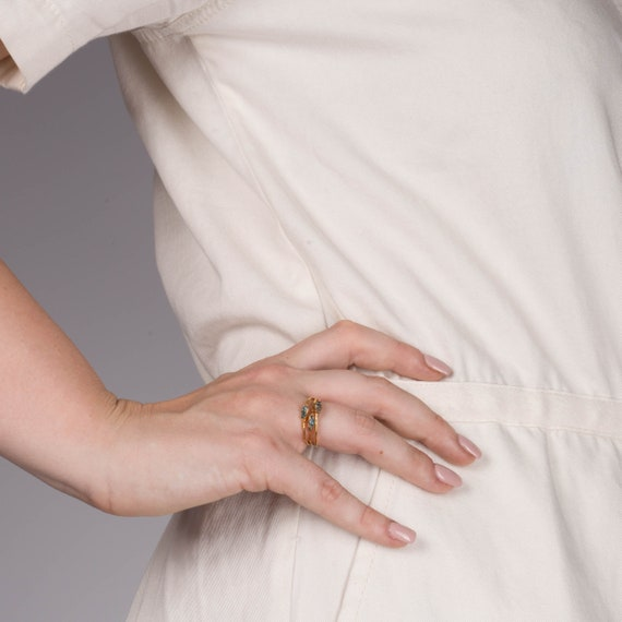 Delicate Minimalist Ring Raw Gemstone Ring April Birthstone Silver Ring Dainty Ring Boho Ring Triple Raw Blue Diamond Ring for Women