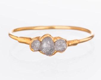 Gold Triple Raw Diamond Ring for Women, April Birthstone Ring, Raw Stone Ring, Boho Ring, Crystal Ring, Stacking Ring, Raw Gemstone Ring