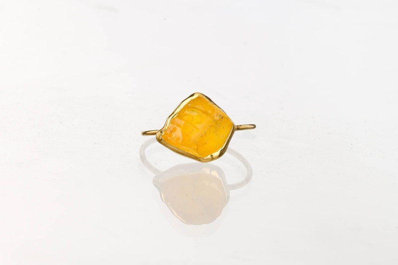 Crystal Jewelry NEW Statement Raw Citrine Ring for Women Crystal Ring Unique Engagement Ring Healing Crystal Ringcrush Raw Gemstone Ring