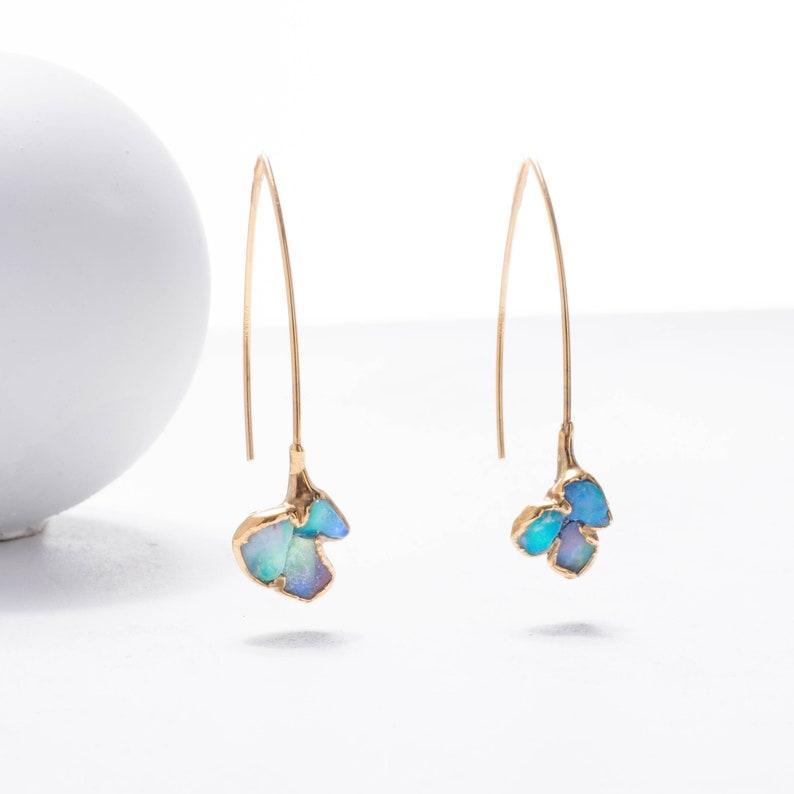 076444a6e Edgy Mini Raw Opal Cluster Earrings Dangle Statement | Etsy