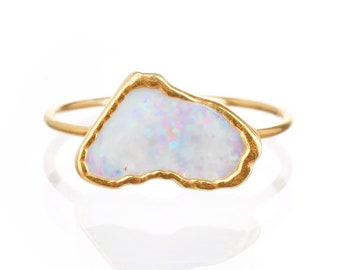 Raw Opal Ring for Women, Gold Ring, Gemstone Stacking Rings, Boho Ring, Engagement Ring, Bohemian Jewelry, Opal Jewelry, Raw Crystal Ring