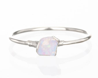 Mini Raw Opal Ring for Women, Sterling Silver Ring, Dainty Ring, Gemstone Ring, Opal Engagement Ring, Raw Crystal Ring, October Birthstone