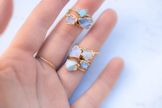 raw opal ring for women gold ring gemstone stacking rings. Black Bedroom Furniture Sets. Home Design Ideas