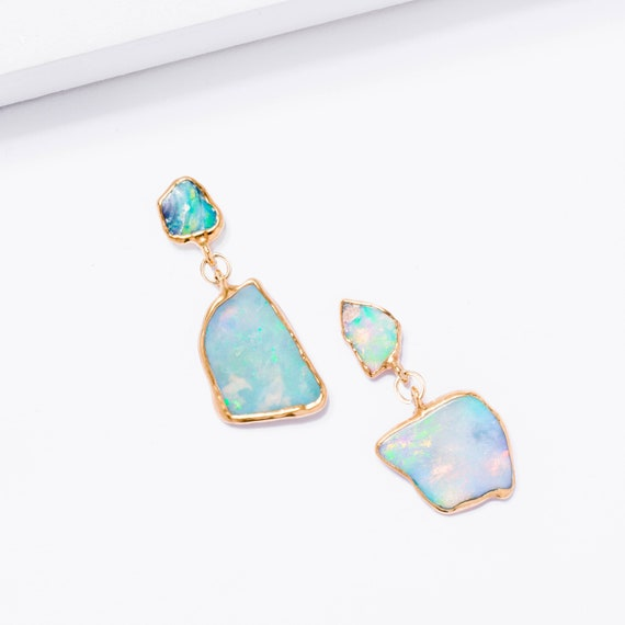 da61f75c1 Hero Raw Opal Cluster Earrings Fire Opal Earrings Gold Drop | Etsy