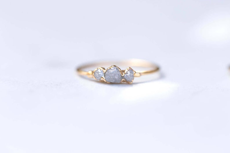 Gold Triple Raw Diamond Ring for Women Unique Gifts image 0