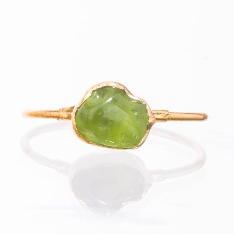 Raw Peridot Ring Yellow Gold August Birthstone Ring Peridot image 0