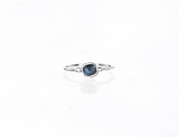 Silver Sapphire Ring Size 8 Raw Gemstone September Birthstone