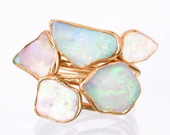 Five Stacking Rings, Gold Raw Opal Rings for Women, Gemstone Rings, Opal Ring Gold, Raw Crystal Rings, October Birthstone Rings, Boho Rings