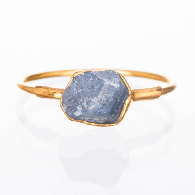 Raw Sapphire Ring Gold Ring Delicate Ring Sapphire image 0