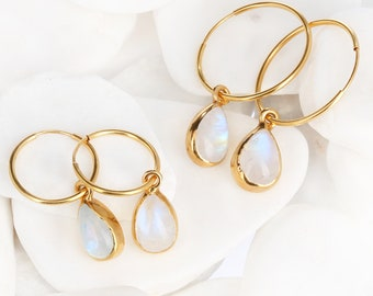Rainbow Moonstone Charm Hoop Earrings for Women, Weird Earrings, Raw Moonstone Dangle Earring, Moonstone Jewelry, Moonstone Drops