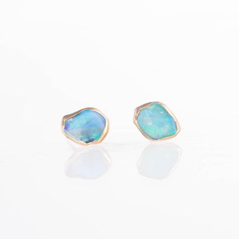 Raw Opal Earrings Raw Stone Earrings Gold Opal Stud Gold