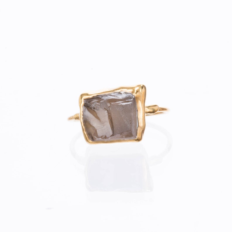 Yellow Gold Smoky Quartz Wedding Gift Cognac Quartz Jewelry Ringcrush January Birthstone Ring Raw Smoky Quartz Ring Smoky Quartz Jewelry