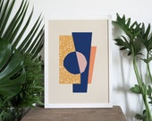 A4 Print • Art Deco Print • Terrazzo Collage • Living Room Decor • Abstract Art Print • Modernist • Abstract Wall Art • Wall Decor