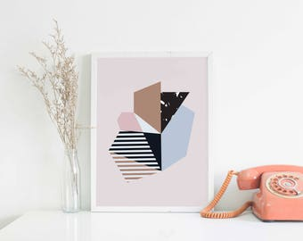 A4 Art Print • Pink Wall Decor • Abstract Shapes • Minimalist Print • Collage Art Print • Modern Home Decor • Geometric Print