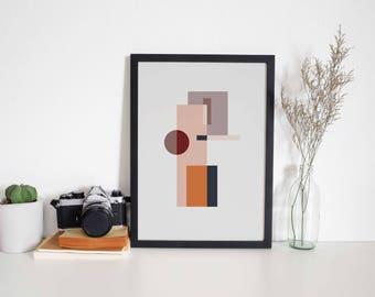 A4 Art Print • Abstract • Wall Art • Shapes • Minimal • Geometric • MY PLACE