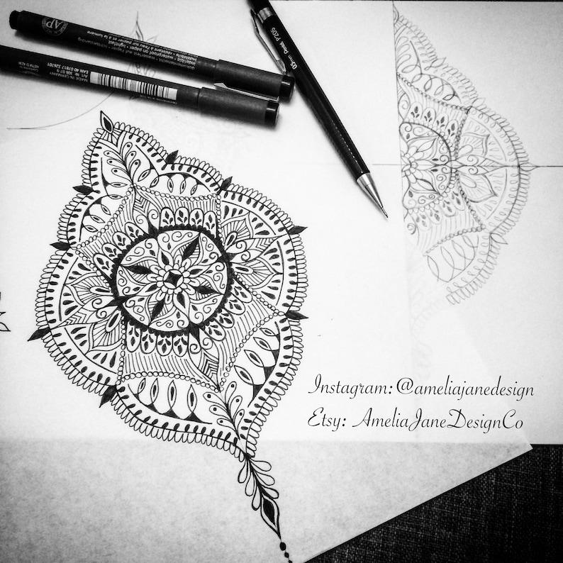 09bd6cb4ceb42 Medium Mandala Upper Back Tattoo Design | Etsy