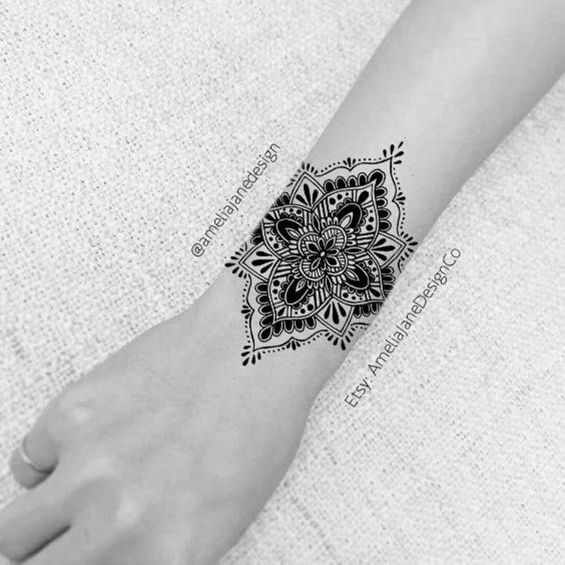 ade0f57cde711 Small mandala tattoo/ Wrist tattoo / Upper back tattoo/ Ankle | Etsy
