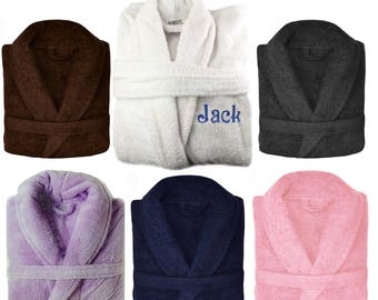8aa0ce6471 Personalised Embroidered Towelling Robe 550 GSM 100% Egyptian Cotton Bathrobe  Bath Robe Gift Unisex