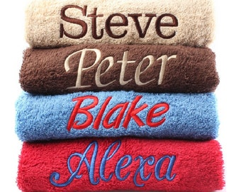 Personalised Embroidered Towels Face, Hand, Bath, Towel Ideal Gift ANY NAME 100% Egyptian Cotton Gift 12 Colour Towels Available