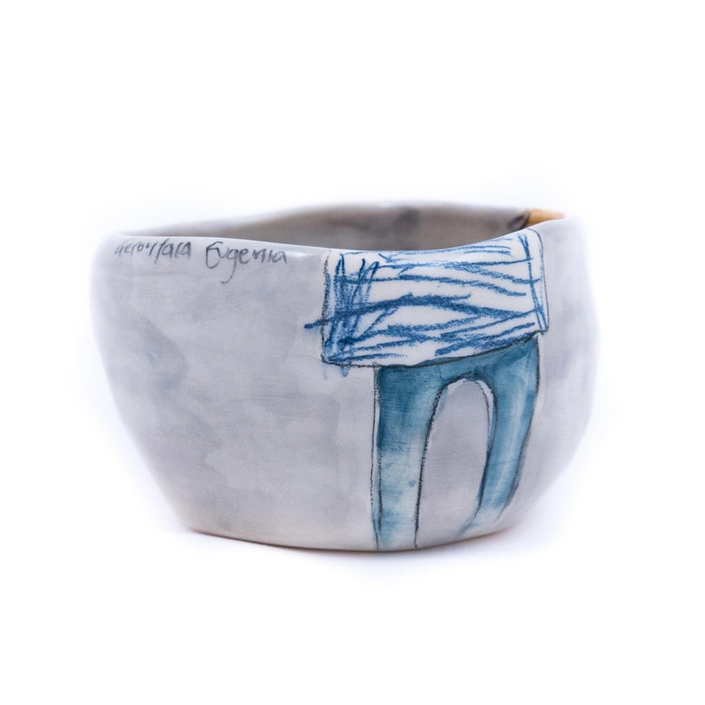 customizable /& personalized gift Handmade pottery bowl ideal housewarming gift for kids and grown ups! Hand painted cereal bowl