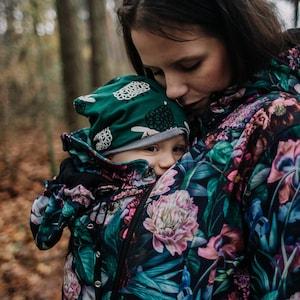 Frontback carry. Maternity Babywearing Jacket GREYSE  softshell