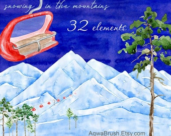 snowing in mountains watercolor clipart commercial use mountain winter landscape pine coniferous tree christmas new year chairlift ski png