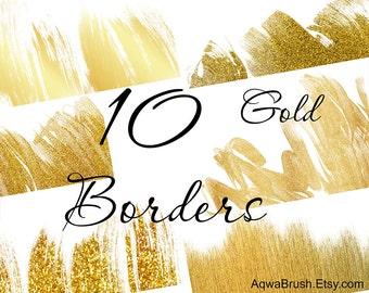 gold borders digital background gold glitter paper etsy