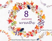 Autumn wreaths watercolor clipart, commercial use floral leaves wreath flower leaf fall foliar foliage circle red yellow orange leaves folio