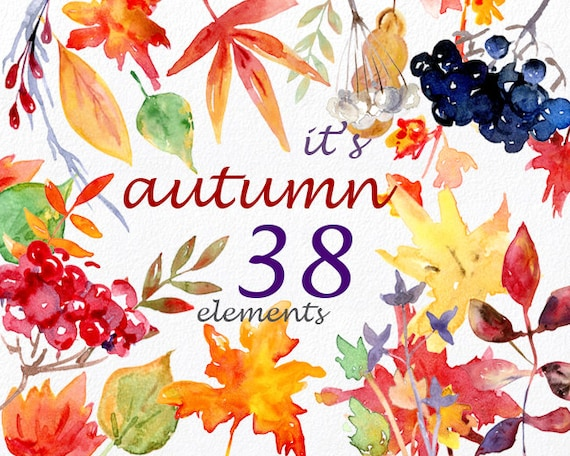 Its Autumn Watercolor Clipart Commercial Use Digital