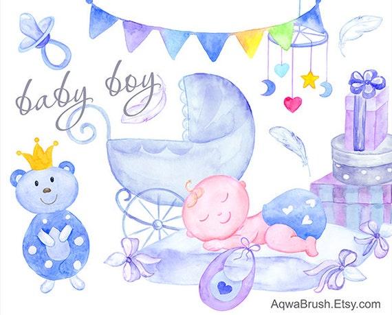 Baby Boy Aquarell Clipart Kommerzielle Nutzung Handbemalt Etsy
