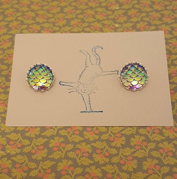 12mm Mermaid  Dragon Scale Clip On Earrings Design Your Own!
