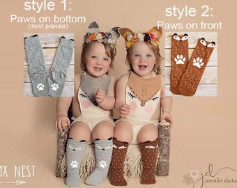 Fox Leggings, Fox Socks, Baby and Toddler Socks, Animal Socks, Fox Knee Socks, Baby Shower Gift, Fox Gift, Socks with Hand Pressed Paw Print