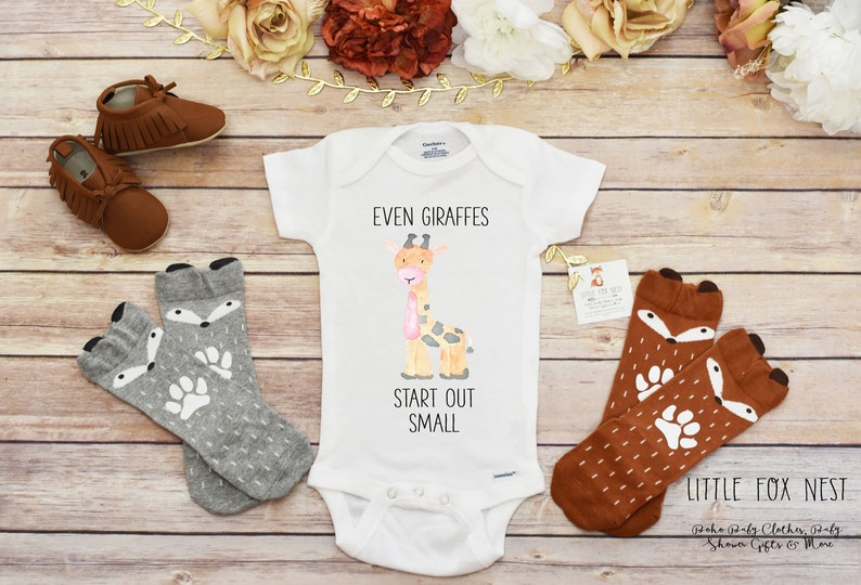 7f2bf173e Giraffe Shirt Even Giraffes Start Out Small Cute Baby | Etsy