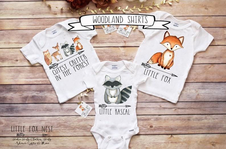 11d05ecf2 Woodland Animal Onesie® Fox Onesie® Baby Shower Gift | Etsy