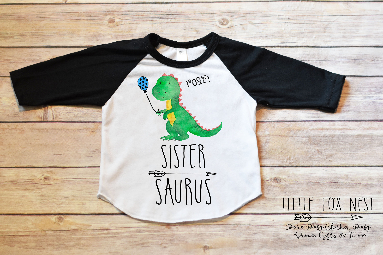 88df3205d Dinosaur Birthday Shirt Sister Saurus Brother Saurus