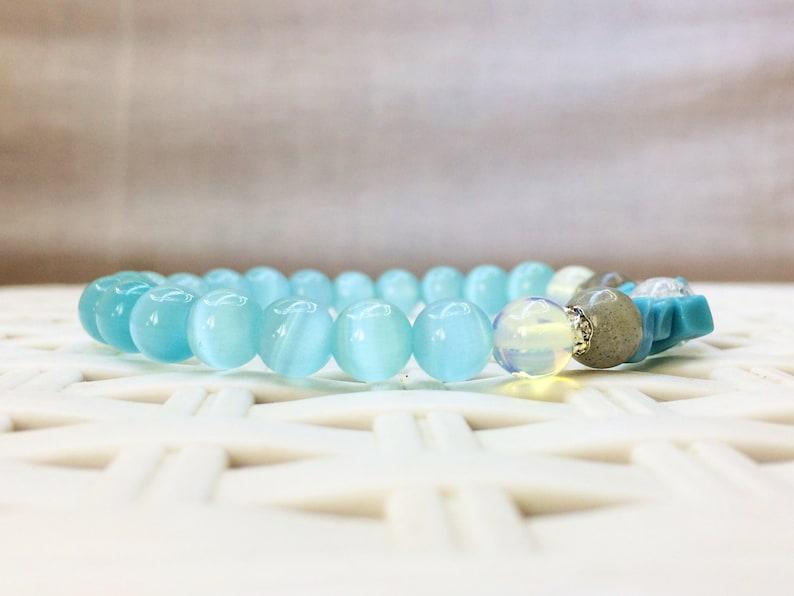 Women bracelets gifts for women Handmade Natural Turquoise stone Natural Cats eye stone Quartz stone Labradorite stone Jewelry BLUE ! snow